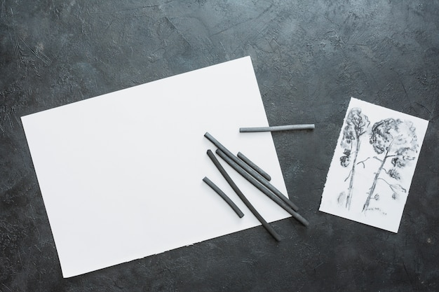 Charcoal stick with drawn paper and black white paper sheet Free Photo