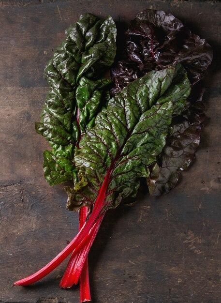 Chard mangold salad leaves Premium Photo