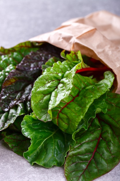Chard swiss  fresh  green and red colored Premium Photo