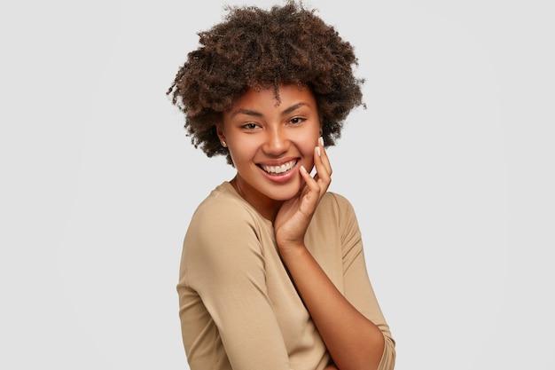 매력적인 아름다운 소녀는 아프로 헤어 스타일을 가지고 무료 사진