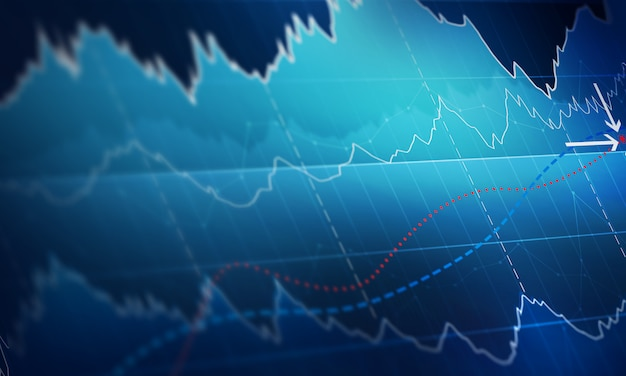 Chart with uptrend line graph, bar chart and diagram in bull market on dark blue background Premium Photo