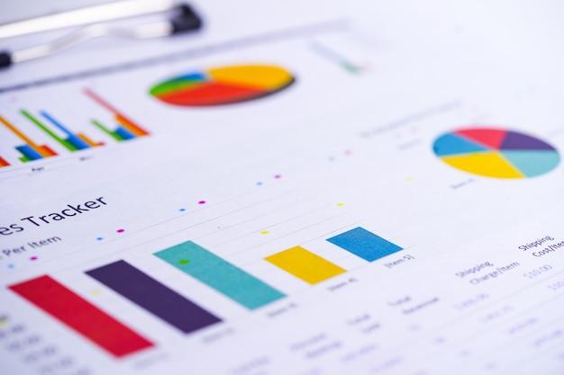 Charts graphs spreadsheet paper. Premium Photo