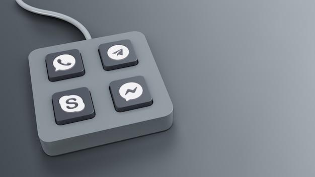 Визуализация гаджета кнопки чата с серым цветом Premium Фотографии