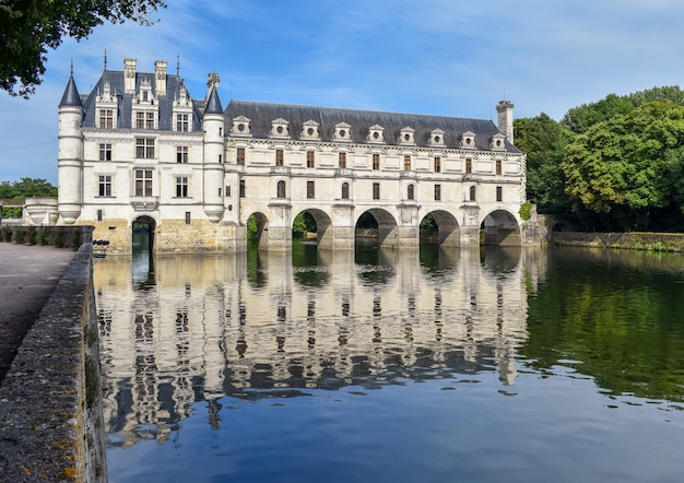 Chateau de chenonceau on the cher river - france, the loire valley Premium Photo
