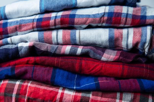 Checkered shirts stack Premium Photo