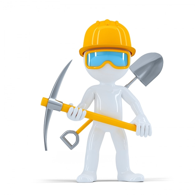Cheerful construction worker/builder posing with tools Free Photo