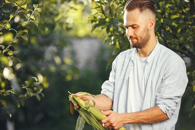 Allegro contadino con verdure biologiche in giardino. verdura biologica mista nelle mani dell'uomo. Foto Gratuite