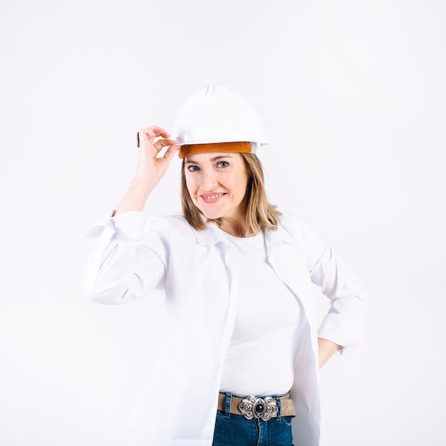 Cheerful female engineer Free Photo