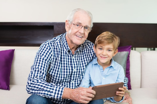 Cheerful frame grandparent bonding looking Free Photo