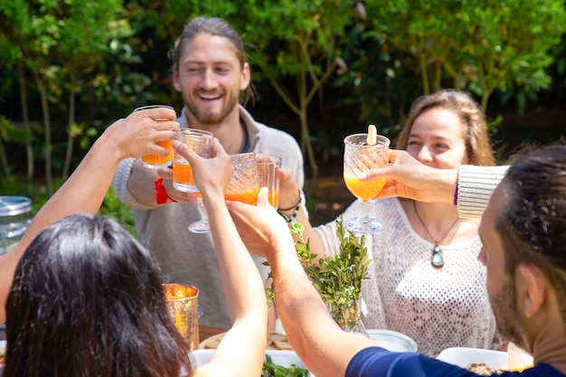 Cheerful friends clinking glasses outdoor Free Photo
