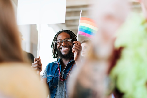 Cheerful gay pride and lgbt festival Free Photo