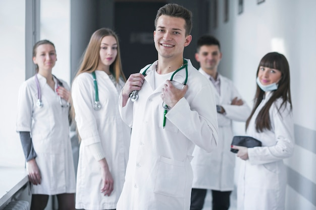Cheerful medics team in hospital Free Photo
