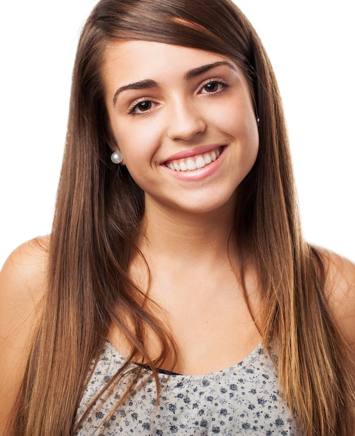 Cheerful student with long hair on white background Free Photo