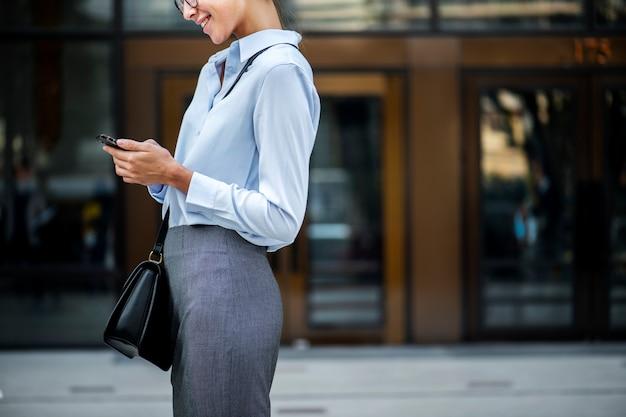 A cheerful white woman concept Premium Photo
