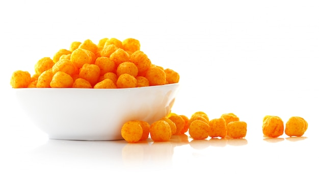 Cheese balls in the bowl Free Photo