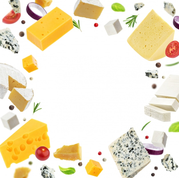 Cheese frame isolated on white background, different types of cheese Premium Photo