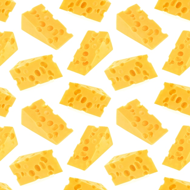 Cheese seamless pattern isolated on white Premium Photo