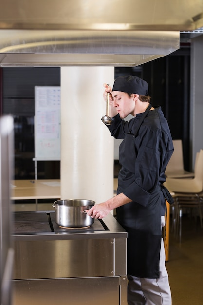 Chef cooking a recipe Free Photo