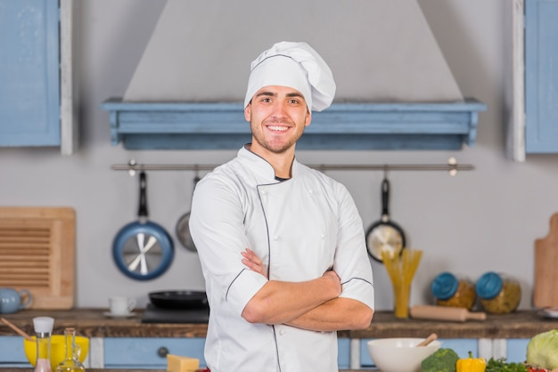 Chef in kitchen Premium Photo