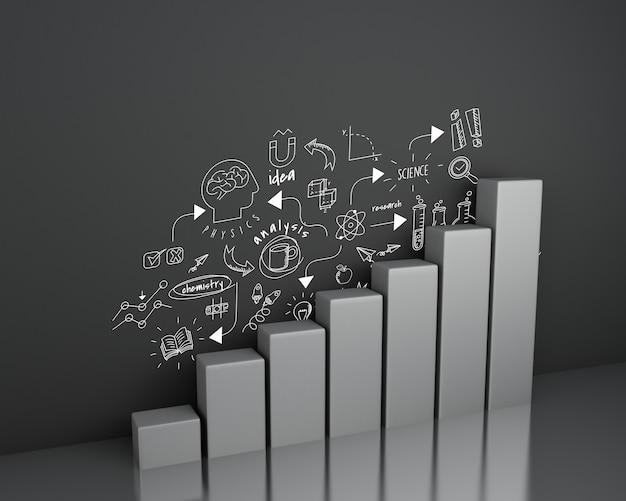 壁にchemestryスケッチと3 d棒グラフ Premium写真