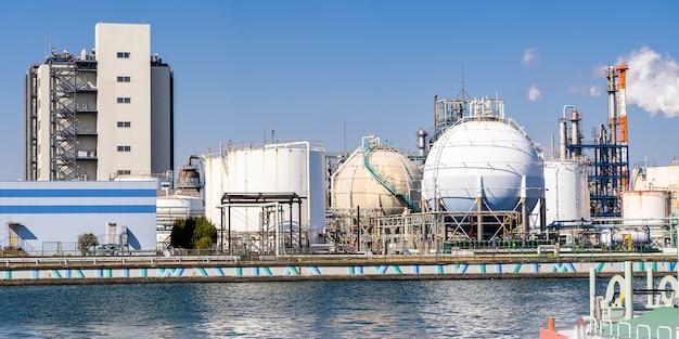 Chemical factory panorama Premium Photo