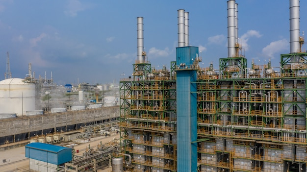Chemical plant, chemical factory, industrial plant with blue sky, aerial view. Premium Photo