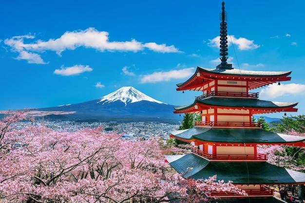 春の桜、浅間塔、富士山。 無料写真