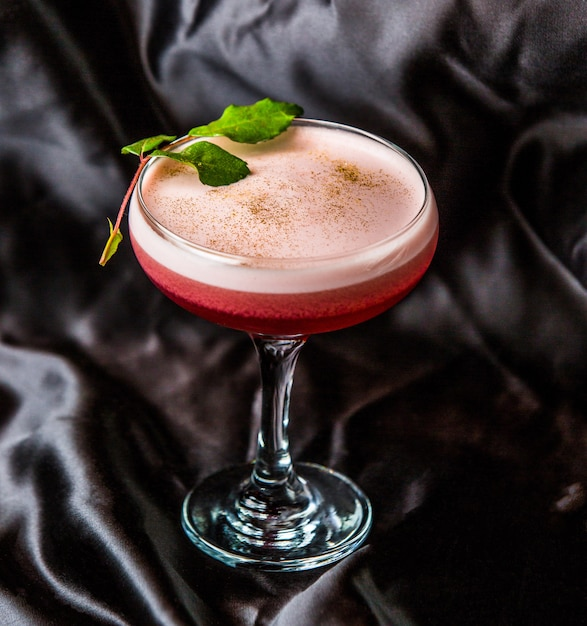 Cherry cocktail with white foam on a glass with mint leaves. Free Photo