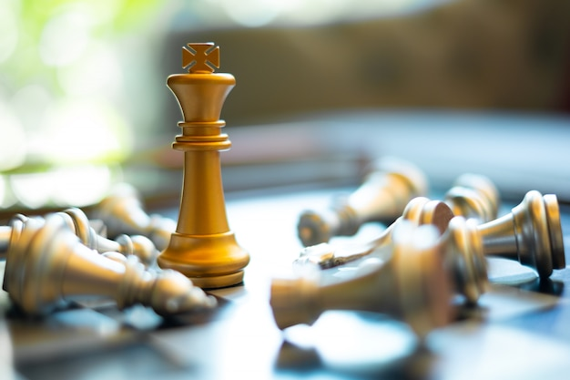 Chess board game setup for the competition, leader, winer