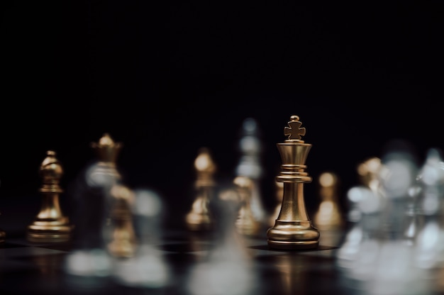 Chess board game, strategy planning and competition business concept. Premium Photo