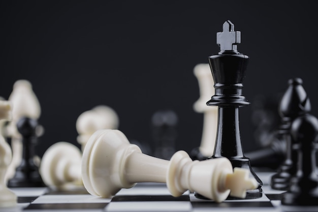 Chess board game strategy, planning and decision concept. Premium Photo