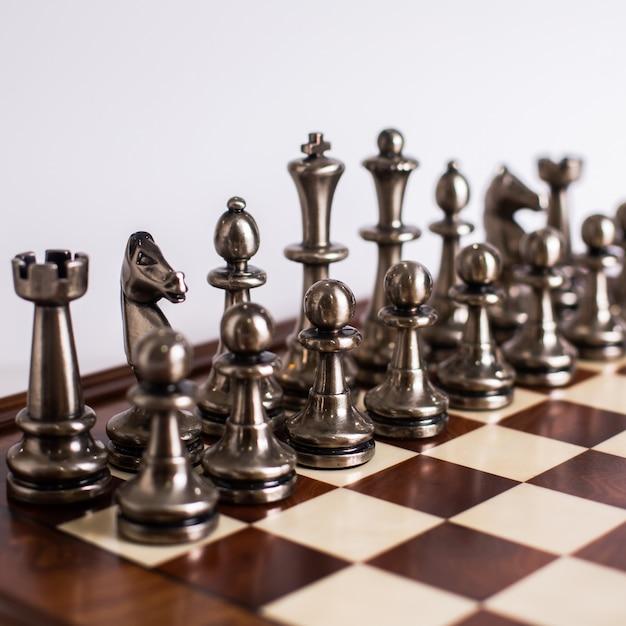 Chess designed art golden silver on light Free Photo