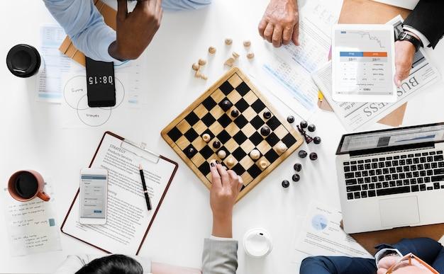 Концепция бизнес-стратегии шахматной игры Бесплатные Фотографии