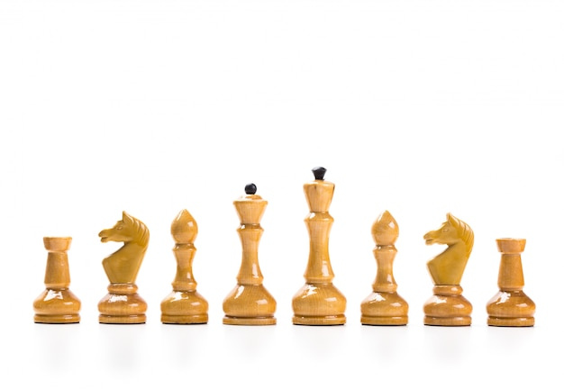 Chess game or chess pieces with white surface Premium Photo