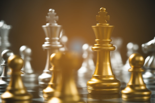 Chess game strategic business leadership successful teamwork. business leader concept. Premium Photo