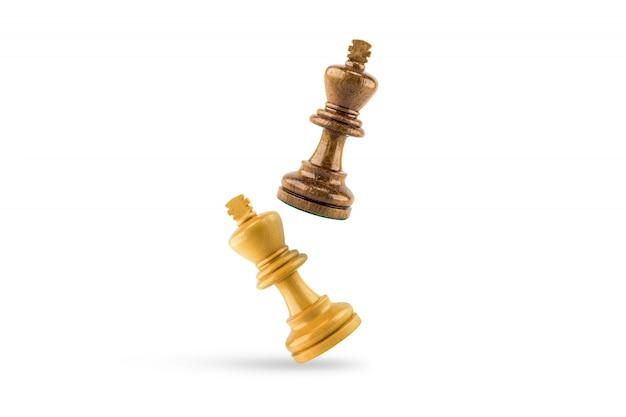 Chess wood on white background Premium Photo