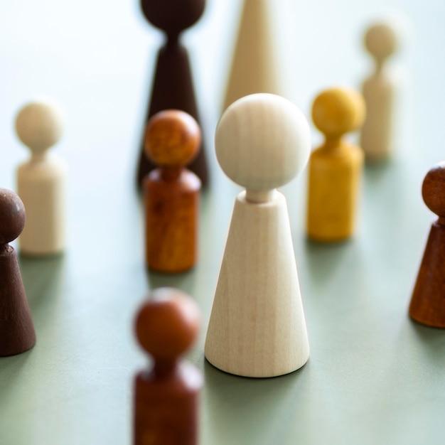 チェスの木製ピースのクローズアップ 無料写真