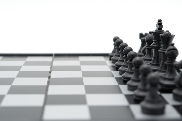 Chessboard with a chess piece on the back negotiating in business. as background business concept Premium Photo