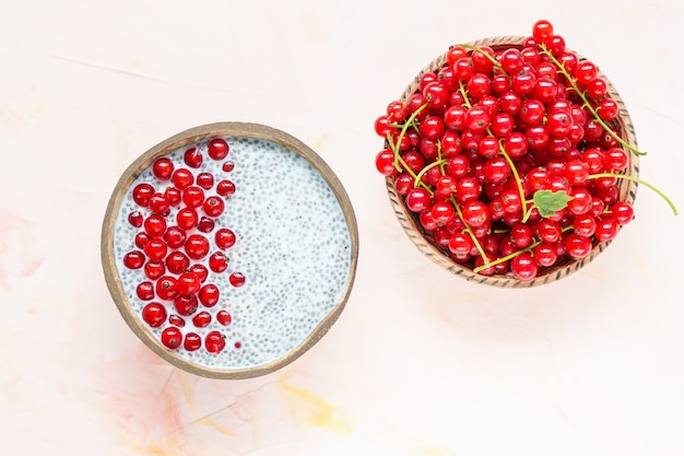 Chia seed pudding and red currant berries in a bowl Premium Photo