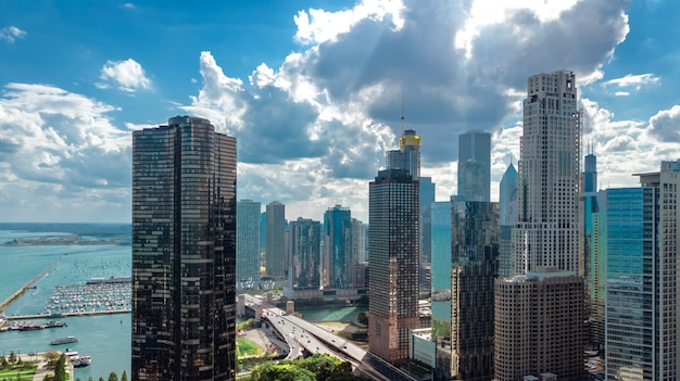 Chicago skyline aerial drone view from above, city of chicago downtown skyscrapers and lake michigan cityscape, illinois, usa Premium Photo