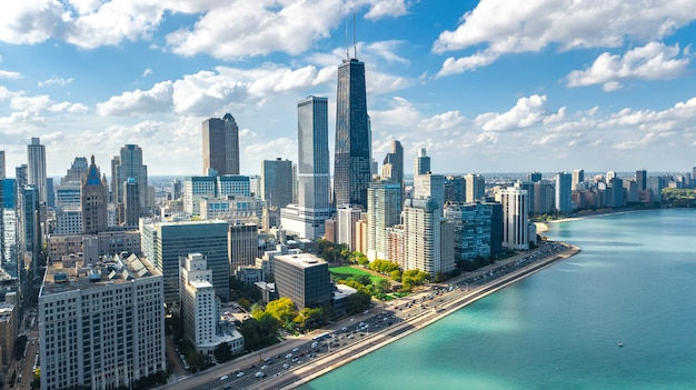 Premium Photo | Chicago skyline aerial drone view from above, city of  chicago downtown skyscrapers and lake michigan cityscape, illinois, usa