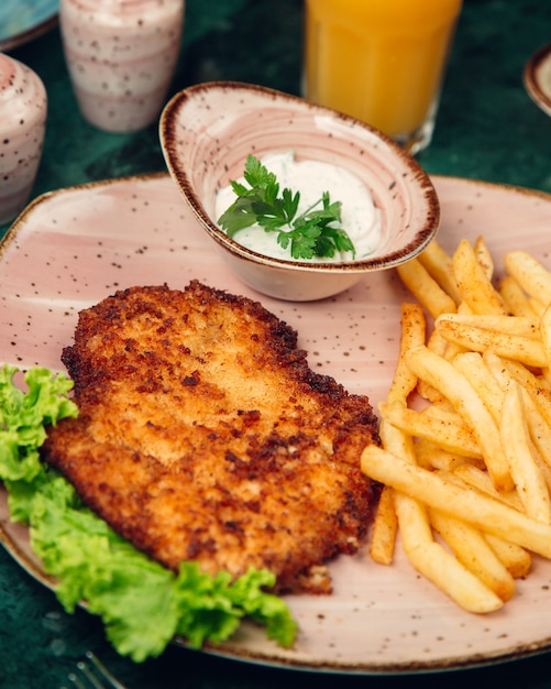 Chicken breast grilled and served with french fries, mayonnaise and lettuce. Free Photo