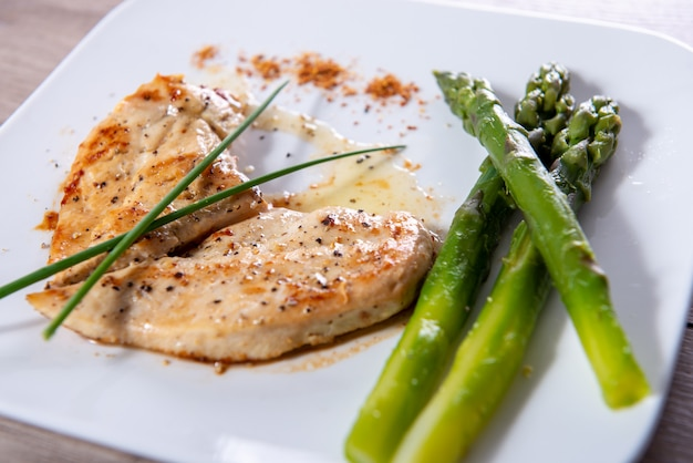 Chicken breast with fresh asparagus on white plate Premium Photo