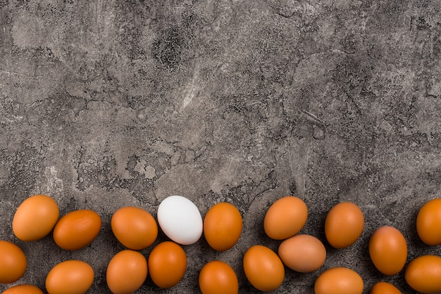 Chicken eggs scattered on grey table Free Photo