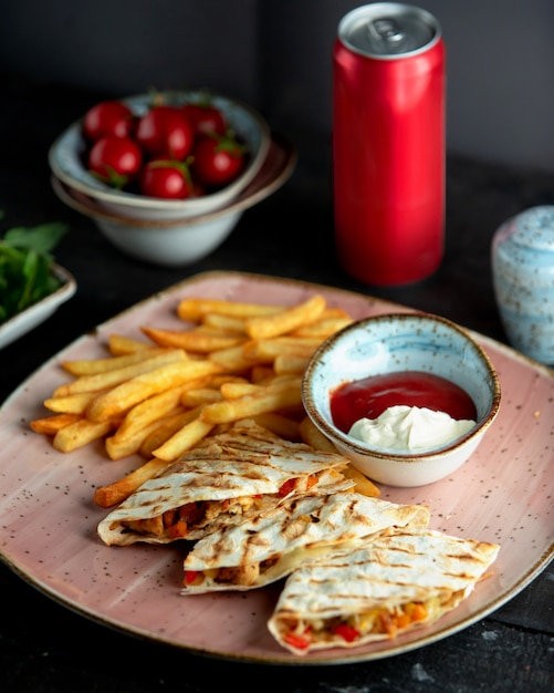 Chicken fajitos and french fries Free Photo