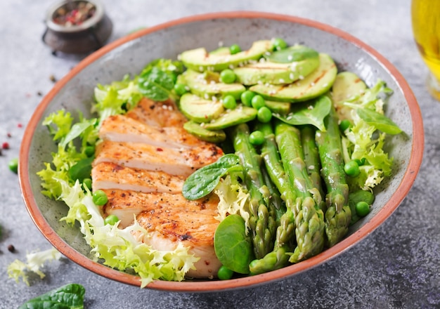 Chicken fillet cooked on a grill with a garnish of asparagus and grilled avocado. healthy Premium Photo