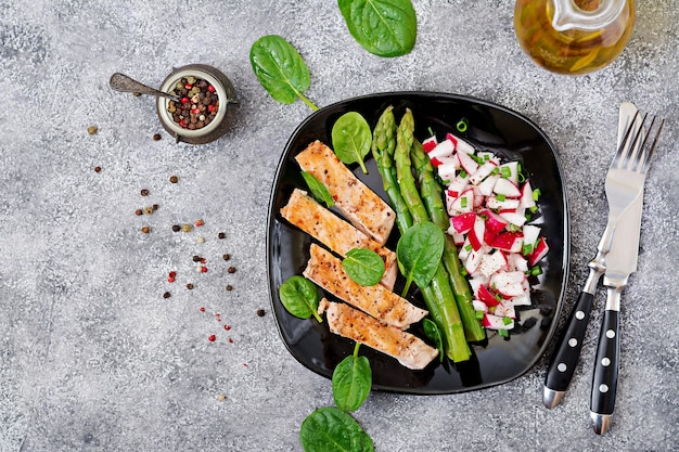 Chicken fillet cooked on a grill with a garnish of asparagus and radish salsa. top view Premium Photo