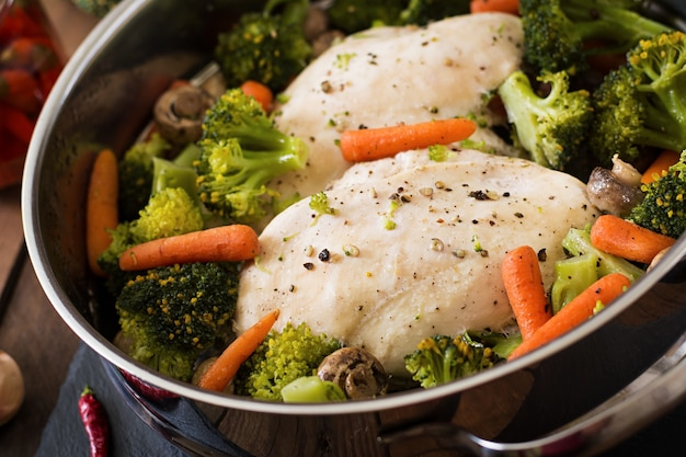 Chicken fillet with vegetables steamed Free Photo