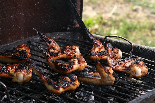 Chicken legs on the grill Free Photo