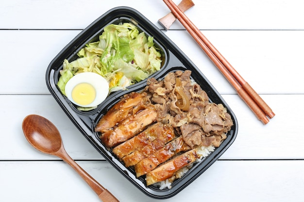 Chicken rice bento Free Photo